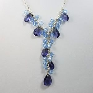 Givenchy Blue Purple Crystal Necklace Silver Chain